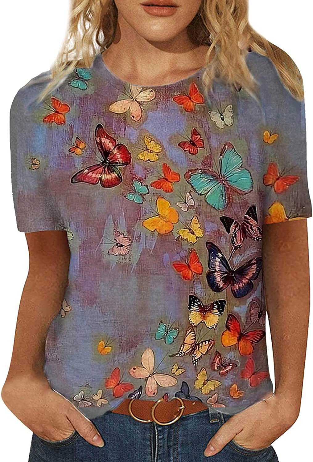Womens Summer Tops Loose Short Sleeve Blouses Fashion Butterfly T Shirts Print Casual O Neck Tunic Tops Cute Tops