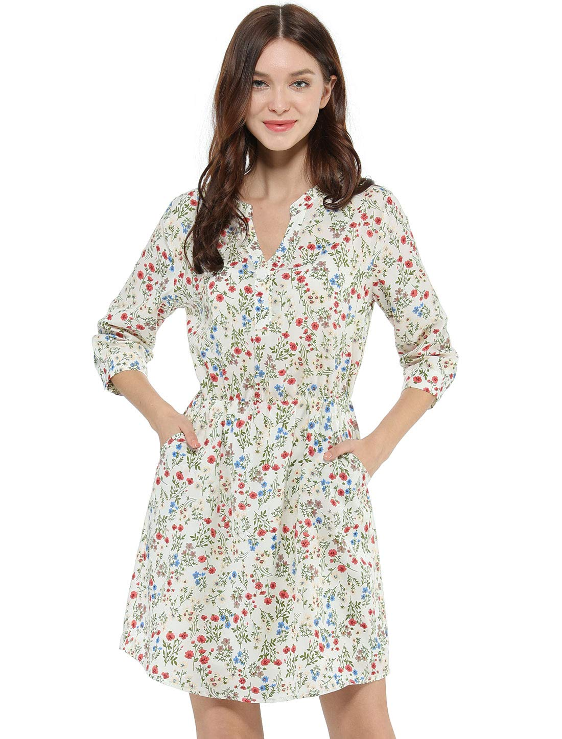 Allegra K 女士纽扣花卉印花 V 领口袋连衣裙