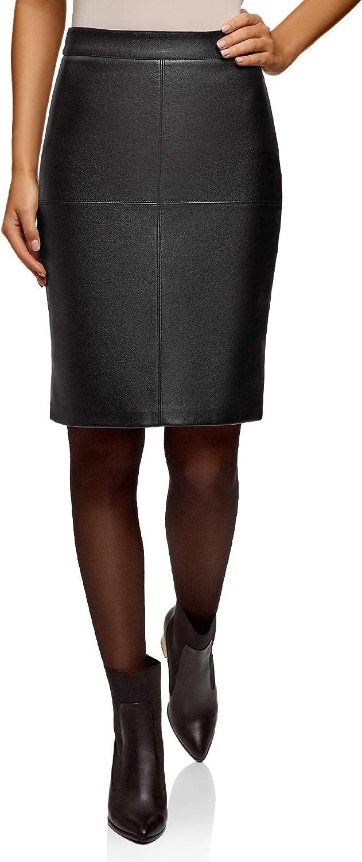 oodji Ultra Women's Faux Leather Straight Skirt