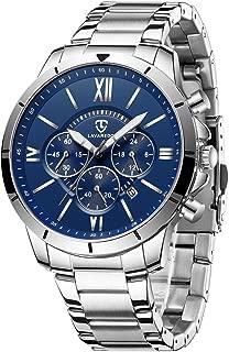腕時計 メンズ腕時計 ファッション ビジネス カジュアル 多機能時計 日付表示 クロノグラフ ステンレス鋼 防水 アナログ クォーツ時計 ブルー シルバー