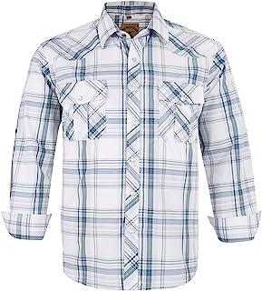 Coevals Club Men's Western Pearl Snap Button Long Sleeve Work Casual Plaid Shirt
