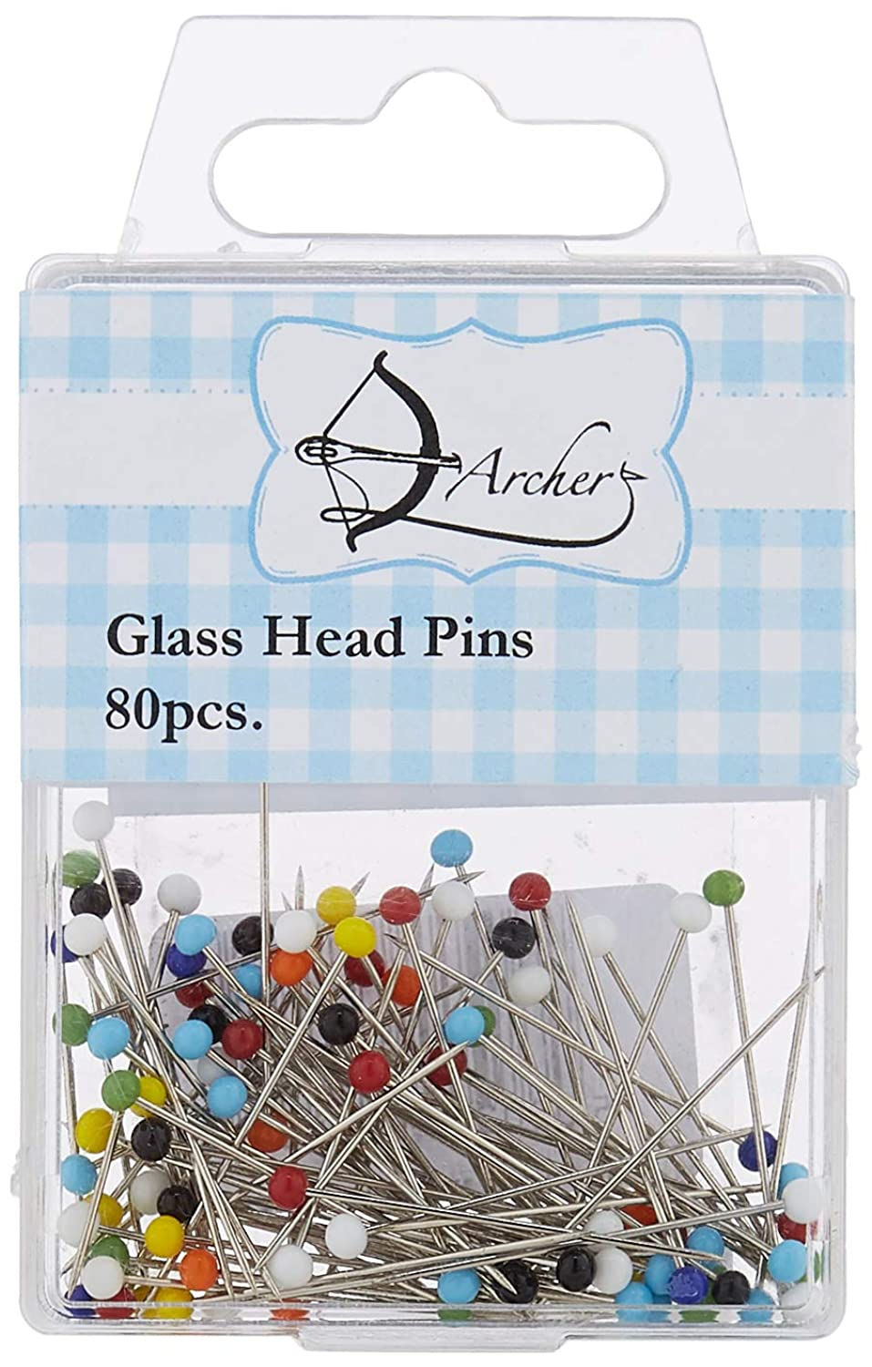 Archer Glass Head Pins 80pcs, Metal Assorted, 10 x 6 x 1 cm