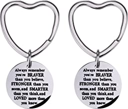 Mtlee 2 Pack You Are Braver Stronger Smarter Than You Think Keychain, Pendant Key Chain Ring Inspirational Gift for Men Women