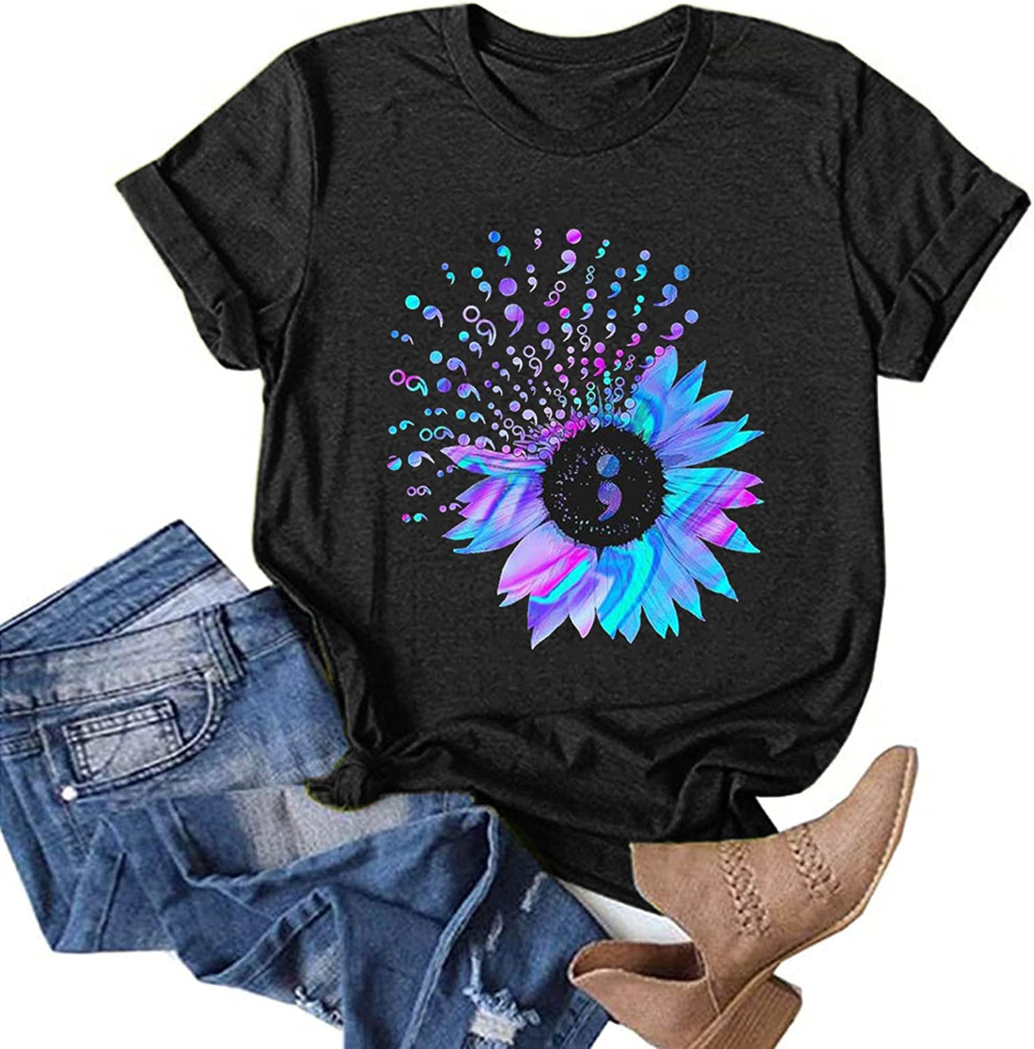 Eduavar Tops for Women Summer,Womens Fashion Gardient Printed Short Sleeve V Neck T Shirt Casual Loose Tee Tunic Blouses