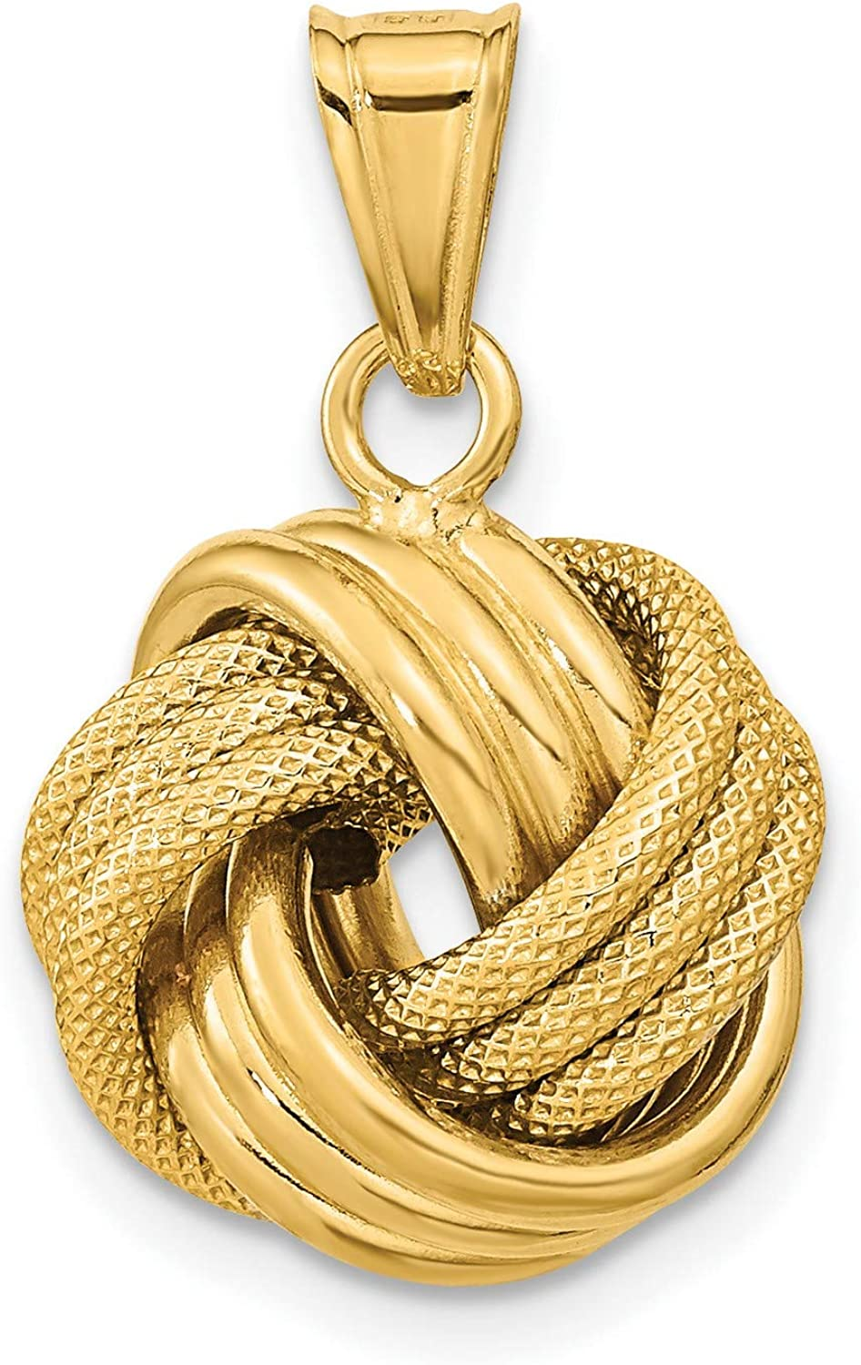 14k Yellow Gold Polished Textured Love Knot Pendant 18 mm x 16 mm