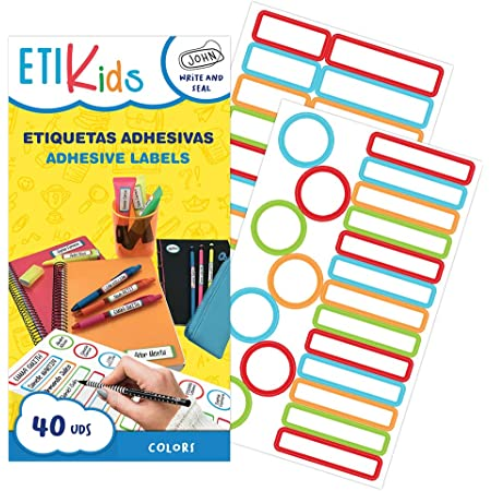 ETIKIDS 40 Etiquetas adhesivas laminadas personalizables multiusos (color) para la guardería y colegio.