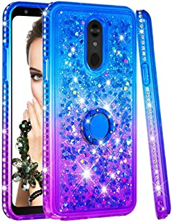 Case for LG Stylo 5,Soft Durable Diamond-Set Side 360 Degree Rotate Finger Ring Stand TPU Case Brilliant Flowing Floating Bling Quicksand with Heart&Star Sequins Case Compatible with LG Stylo 5