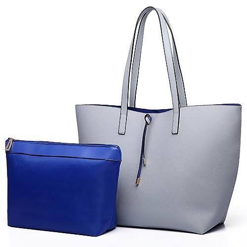 Miss Lulu Women Reversible Tote Bag Faux Leather Shoulder Handbag Large  Shopper Set 2c817c2c6c0