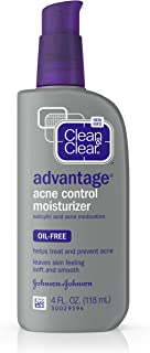 Clean & Clear Advantage Acne Control Face Moisturizer with Salicylic Acid Acne Medication, Non-Greasy Oil-Free Facial Lotion for Acne-Prone Skin, 4 fl. oz