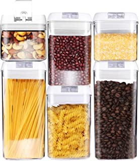 Air-Tight Food Storage Container Set [6-Piece Set] - Pantry Durable Seal Pot - Cereal Storage Containers - for Dry Foods &...