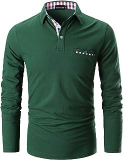 YCUEUST Polos Hombre Mangas Largas Camisas Algodón Slim Fit Camiseta Golf Clásico T-Shirts