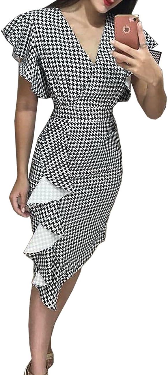 Senggeruida Woman Houndtooth V Neck Wrap Ruffle Sheath Dress