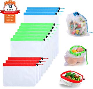 12 Pcs Premium Reusable Mesh Produce Bags, 3 Size Lightweight Washable and See Through Mesh Shopping Merchandise Bags with Drawstring, Toggle Tare Weight Color Tag (12 Pcs)