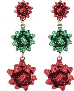 Christmas Earring Bow Shape Xmas Santa Gift Bow Drop Dangle Earrings for Women