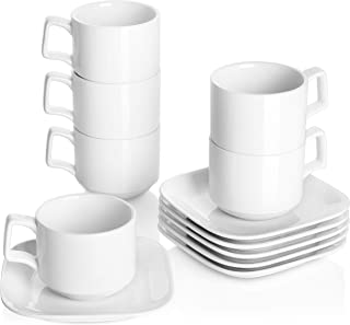 DOWAN Porcelain Coffee Cups with Square Saucers, 9 Ounces for Specialty Coffee Drinks, Cappuccino and Tea, Stackable Cups Set of 6, White