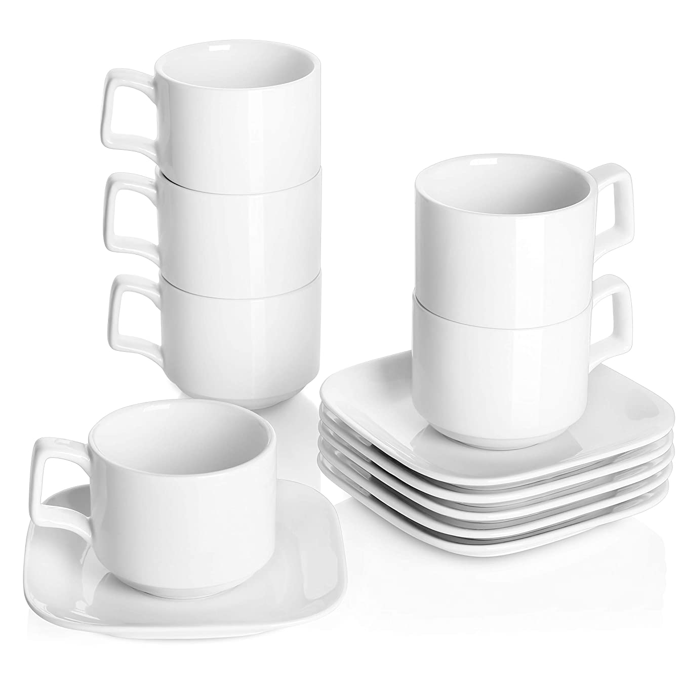 DOWAN Porcelain Coffee Cups with Square Saucers, 9 Ounce for Specialty Coffee Drinks, Cappuccino and Tea - Stackable Cups Set of 6, White