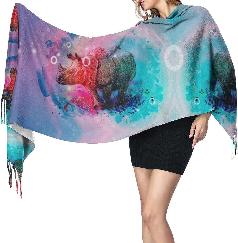 Watercolor Rhinoceros Cashmere Feel Scarf Lightweight Soft Scarfs For Boys Girls Creative Warm Cold Weather Blanket Scarf
