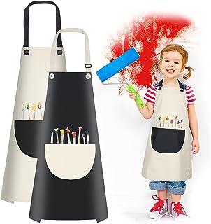 Vicloon Fartuch kucharski dla dzieci, 2 sztuk wodoszczelny fartuch,regulowany fartuch malarski dla dzieci chłopców i dziew...