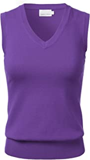 Women's Solid Classic V-Neck Sleeveless Pullover Sweater Vest Top
