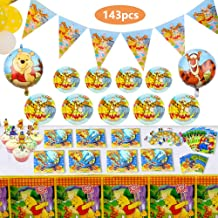 143 Pcs Deluxe Winnie The Pooh Party Supplies Pooh Birthday Decorations Favors Set for Girl Baby Shower Boy Kids 1st 2nd Classic Birthday Includes Tableware Kit Blowing Dragon Balloons Table Cloth Plates Cupcake and Banner for 12