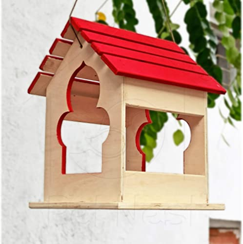 PetNest Red Large Wild Hanging Bird Feeder Chabutra Gift idea for Outside, Patio, Backyard, with Free Hanging (Red)