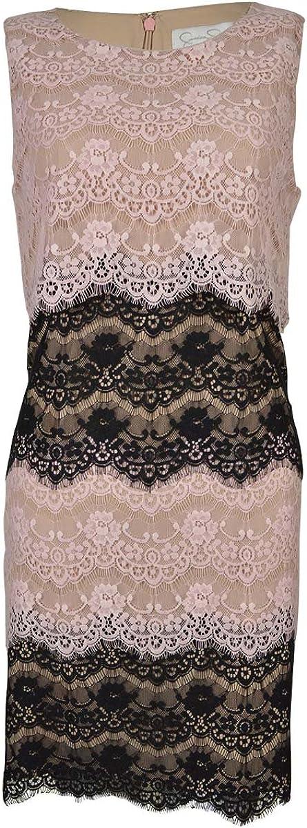 Jessica Simpson Women's Scallop Lace Tier Dress Pink/Black 6