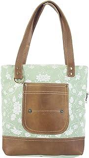 Sunsa Damen Handtasche Umhängetasche, Tasche aus Canvas & Leder. Große Crossbody bag Schultertasche, Shopper, Geschenkideen für Frauen/Mädchen nachhaltige Produkte 52488