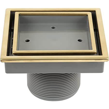 QM Tile-In Center/Square Shower Drain in Gold, Stainless Steel Marine 316 Frame + ABS, Lagos Series Veil Line, Kit includes: Hair Strainer, Key