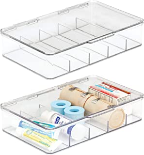 mDesign Rectangular Plastic Stackable Storage Box with Hinged Lid for Organizing First Aid, Medicine, Ointments, Dental, D...