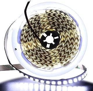 XUNATA 16.4ft LED Flexible Light Strip, 600 Units SMD 5054 LEDs(5050 Upgraded), 12V DC Waterproof IP67 Light Strips, LED Ribbon, DIY Christmas Home Kitchen Indoor Party Decoration (White)