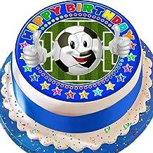 Cannellio Cakes Football Emoji Blue Happy Birthday 7.5 Inch Birthday Precut Edible Icing Cake Topper Decoration