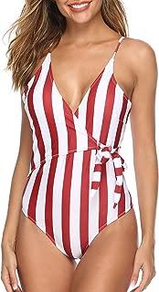 Women's Cute White Stripe One-Piece Swimsuit Beach Swimwear Bathing Suit Bikini