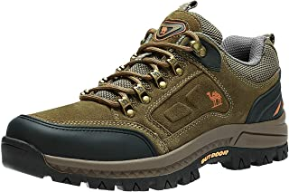 CAMEL CROWN Men's Hiking Shoes Low-Cut Breathable Leather Casual Style Hiking Boots for Outdoors Trekking