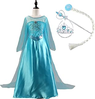 雪の女王 Frozen エルサ 風 ドレス 4点セット (ワンピース おさげ髪 ティアラ ステッキ) elsa ロング サテン シースルー オーガンジー マント付き ガールズ 女の子 子供ドレス ブルー (110cm)