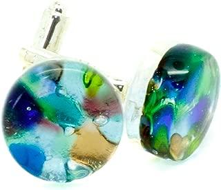 /Bleu Aqua GlassOfVenice v/énitien en Verre de Murano Rond Classique Boutons de Manchette/