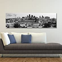 """WallsThatSpeak Panoramic Kansas City Cityscape Picture, Black and White Stretched Canvas Art Prints, Wall Decoration for Bedroom or Office, Framed and Ready to Hang, 14"""" x 48"""""""