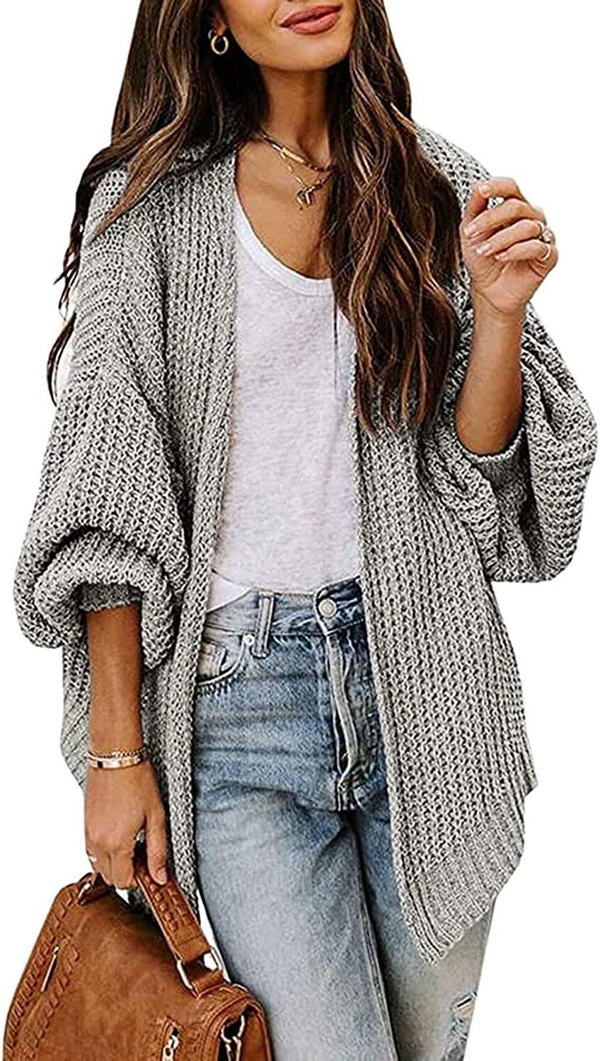 Linsery Women's Chunky Sweater Cardigan Lantern Sleeve Open Front Oversized with Pocket Winter