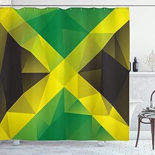 Ambesonne Jamaican Shower Curtain, Triangular Polygon Design Abstract Flag Geometric National, Cloth Fabric Bathroom Decor Set with Hooks, 70