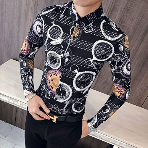 MKDLJY Homme Chemises 2019 Horloge de Marque d'impression Marque Hommes Chemises à Manches Longues Chemises de Conception Chemises décontractées Slim Fit