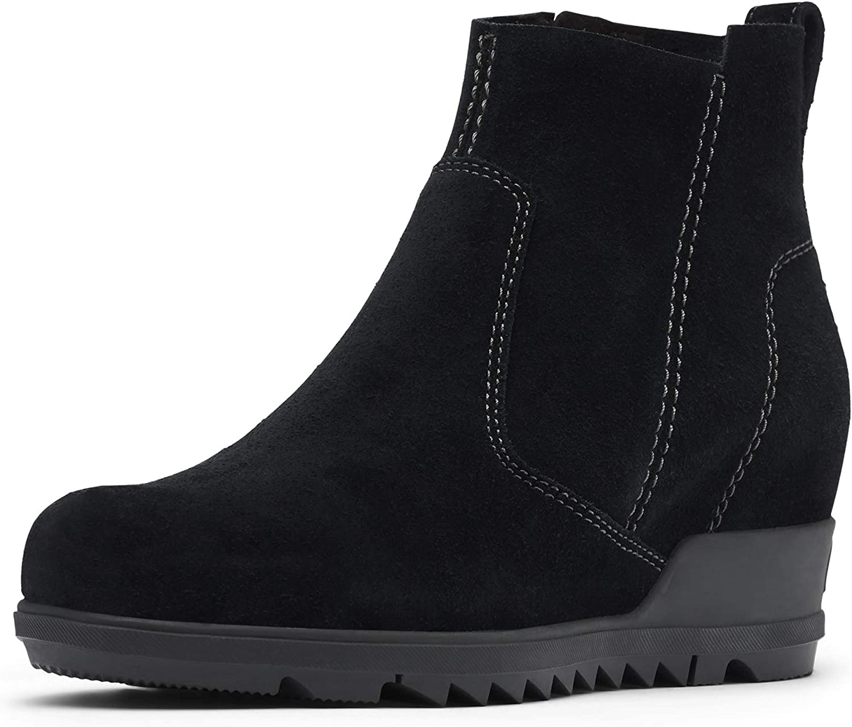 SOREL Women's Evie Bootie — Waterproof Leather Rain Boots — Wedge Ankle Booties