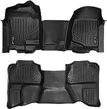 MAXLINER Floor Mats 2 Row Liner Set Black for 2007-2013 Silverado/Sierra 1500/2500/3500 Extended Cab