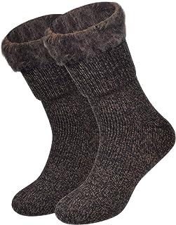 Calcetines de Lana Térmico Forrado de Lana Calcetines Gruesos Botas Suave Cómodo Calcetines de Invierno para Mujeres Hombre