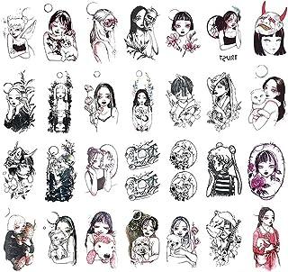 Qqinghan 30 vellen Tattoo Stickers Dark Black Moon Dark Wind Japanse Tijdelijke Tattoo (Color : 30)