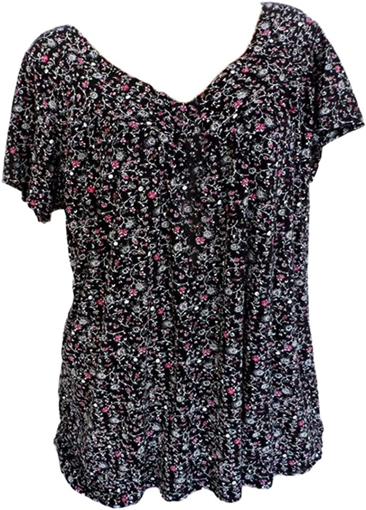 WUAI-Women Loose Floral Printed T-Shirt Tees Plus Size Casual Short Sleeve V-Neck Tie Dye Graphic Ugly Shirt Blouse