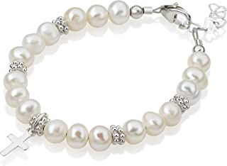 Christening White Cultured Fresh Water Pearls with Sterling Silver Cross Luxury Keepsake Unisex Baby Bracelet (BFWCD)
