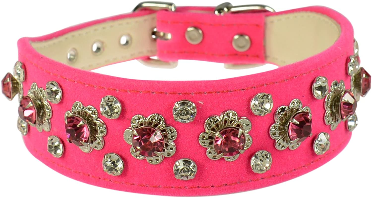 Evans Collars Shaped Collar with Dandy Pattern Jewels, Size 14, Velvet, Pink