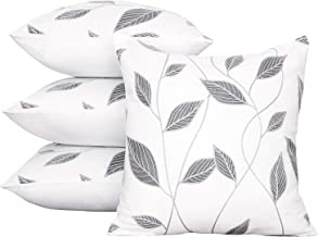 Deconovo Durable Cotton Cushion Covers Household Pillowcase with Leaf Pattern Pillow Covers for Spring Grey and White 18x18 Inch Set of 4 No Pillow Insert
