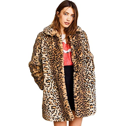 456542ca Women Warm Long Sleeve Parka Faux Fur Coat Overcoat Fluffy Top Jacket  Leopard Brown
