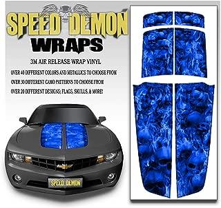 Speed Demon Hot Rod Shop LLC Camaro Racing Stripes Rally Stripes Burning Skull Image Blue Skulls Black Pinstripe- Hood Trunk and Spoiler Graphics 2010-2015
