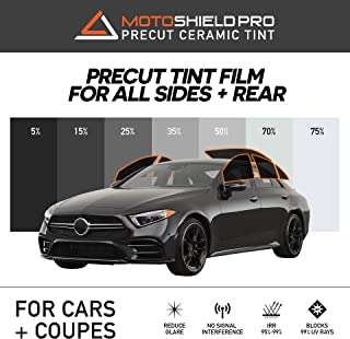 MotoShield Pro Precut Ceramic Tint Film [Blocks Up to 99% of UV/IRR Rays] Window Tint for Cars, Coupes - All Side Windows + Rear Only, Any Tint Shade